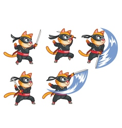 Cat Ninja Attacking Sprite vector image vector image
