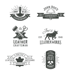 First set of grey vintage craft logo vector image
