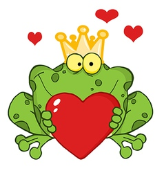 Frog Prince Holding A Heart vector image