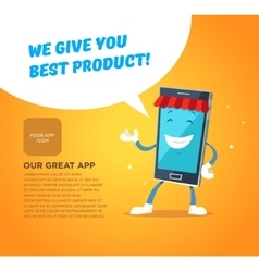 Phone character app market Concepts for web vector image vector image