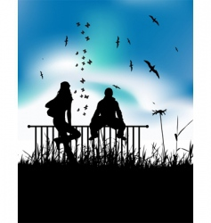 sitting on fence vector image