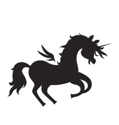 Unicorn silhouette on white background vector image vector image