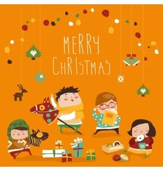 Card with cute kids sweets and christmas presents vector image