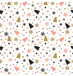Cute background with Christmas tree snowflakes vector image
