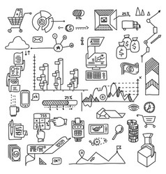 hand draw doodle elements bank business finance vector image