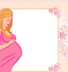 happy pregnant woman baby shower card vector image vector image