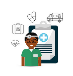 hospital doctor with his tools icon vector image vector image