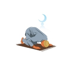 Islamic Prayer on his knees turned to God vector image vector image