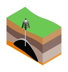 Oil extraction isometric 3d icon vector image vector image