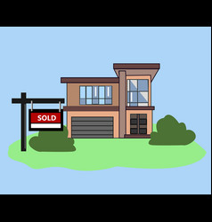 picture house sold real estate sign to advertise vector image