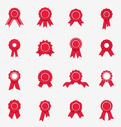 Red rosette icons vector image vector image
