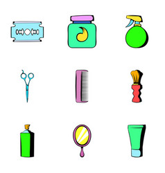shaving icons set cartoon style vector image