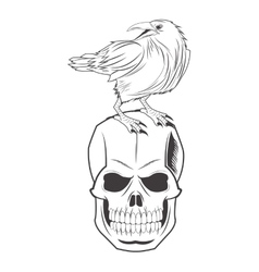 skull eagle tattoo face design vector image