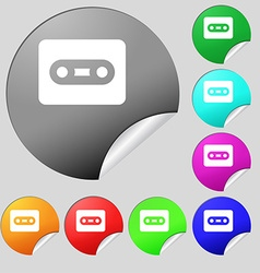 Cassette icon sign Set of eight multi-colored vector image vector image