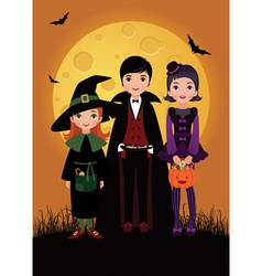 Children in costume Halloween vector image vector image