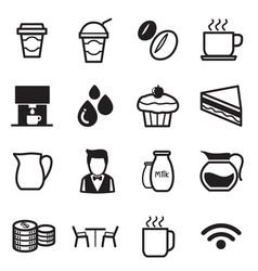 coffee shop icons set vector image vector image