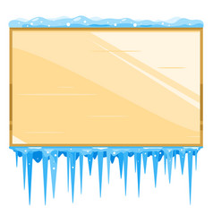 empty wooden board with icicles vector image vector image
