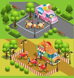 isometric street food horizontal banners vector image vector image