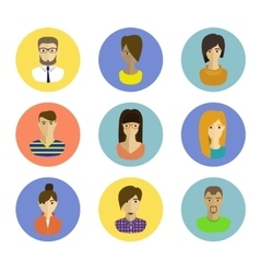 male and female faces avatars flat style vector image