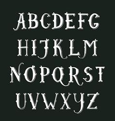 Vintage hand drawn decorative serif alphabet vector image