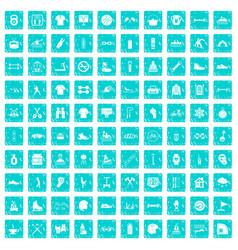 100 sport life icons set grunge blue vector image