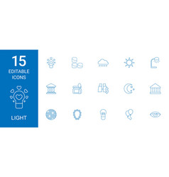15 light icons vector image