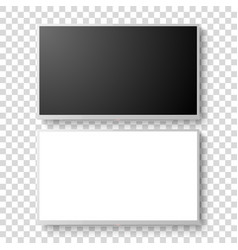 3d realistic white blank tv screen set vector image