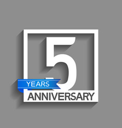 5 years anniversary logotype with white color vector