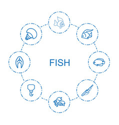 8 fish icons vector