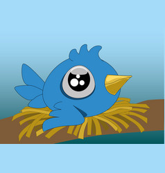 A little cartoon blue bird with big eyes in its vector