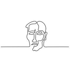 abstract portrait young man continuous line vector image