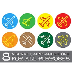 Aircraft or airplane icons set collection colorful vector