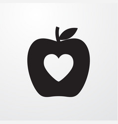 Apple with heart icon for web and mobile vector