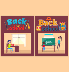 back to school poster pupil and teacher at desk vector image