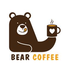 bear coffee logo design template vector image