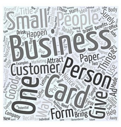Benefits Of The Business Cards Word Cloud Concept vector image