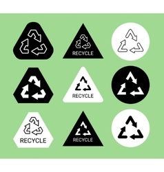 Black and white ecological recycle symbol sticker vector image