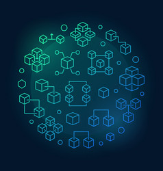 blockchain technology round blue outline vector image