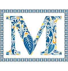 Blue letter M vector image