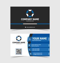 blue modern elegant business card print template vector image