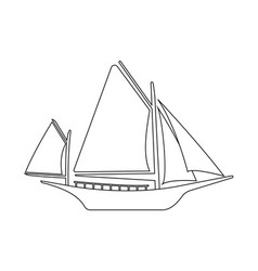 boat flat icon and logo outline vector image