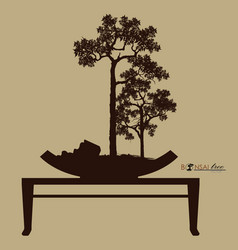 bonsai tree silhouette of bonsai detailed image vector image