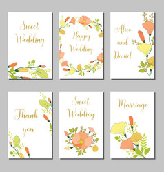 Botanic card with wild flowers leaves vector