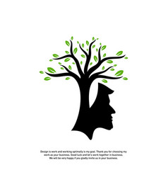 brain with tree logo design concept people head vector image