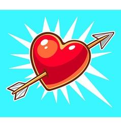 Bright red heart pierced by an arrow on b vector