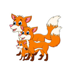 cartoon fox family isolated on white background vector image