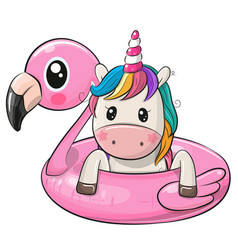 cartoon unicorn swimming on pool ring inflatable vector image