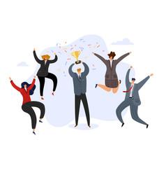 Celebrating team businessman holding prize vector
