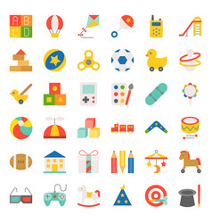 children toy flat icon set vector image