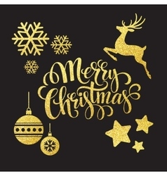 Christmas gold glitter elements vector image